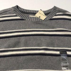 🆕 ST. JOHNS BAY Mens XL Gray Stripe Sweater